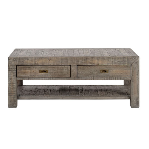 ... Parsons Reclaimed Wood Rustic Coffee Table With 2 Drawers   Grey ...