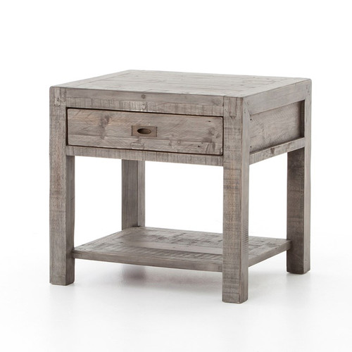 Parsons Reclaimed Wood 1 Drawer End Table - Grey