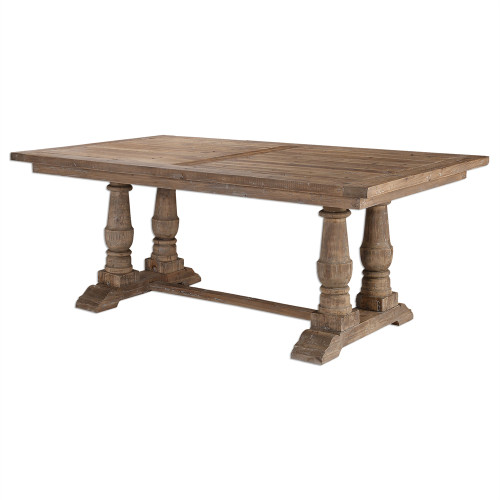 """Salvaged Wood Double Trestle Dining Table 76"""""""