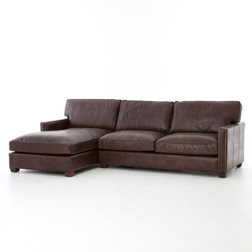 Larkin Vintage Cigar Leather Sectional Sofa with Chaise