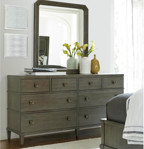 Playlist Vintage Oak 8 Drawers Dresser with Mirror sale