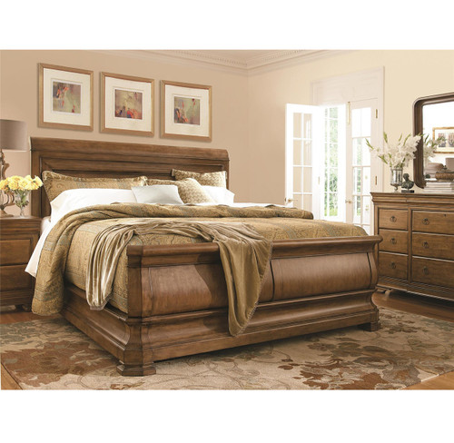 Louis Philippe Solid Wood King Sleigh Bed