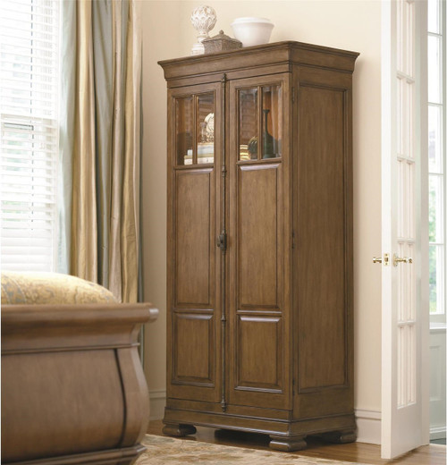 Louis Philippe Solid Wood Tall 2 Door Armoire Cabinet