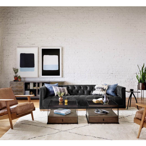 maxx distressed black leather tufted sofa zin home rh zinhome com white tufted sofa living room white tufted sofa living room