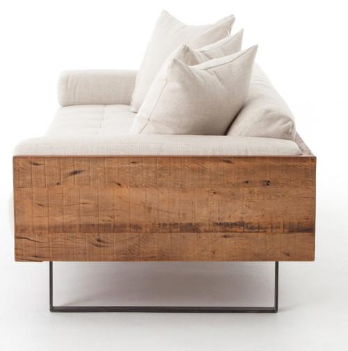 Beau ... Ranger Industrial Loft Reclaimed Wood Frame Sofa   Natural Linen ...