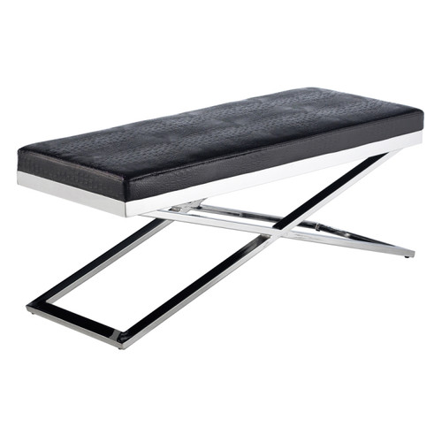 Crawford Steel X-Base Black Crocodile Leather Bench