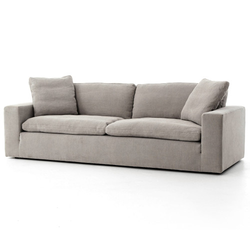 Plume Upholstered Block Arm Pewter Grey Sofa