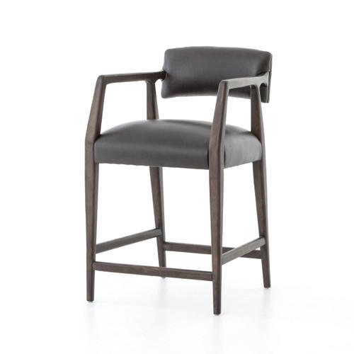 Tyler Mid-Century Modern Black Leather Counter Stool - Oak