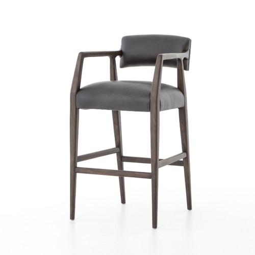 Tyler Mid-Century Modern Black Leather Bar Stool