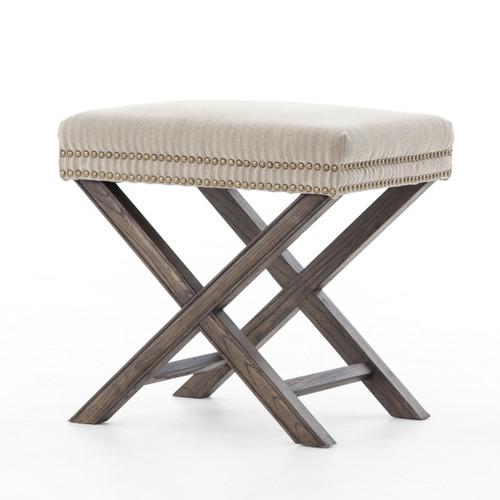 French Modern X-Base Upholstered Stool Ottoman