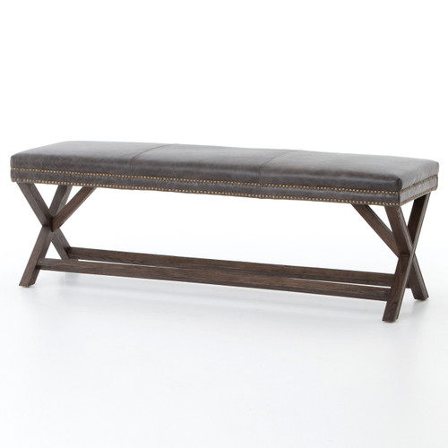 French Modern X-Base Leather Bed End Bench