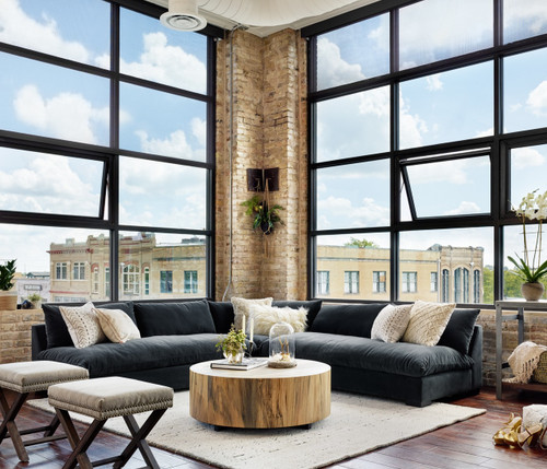 Grant Modern Charcoal Grey Armless Corner Sectional