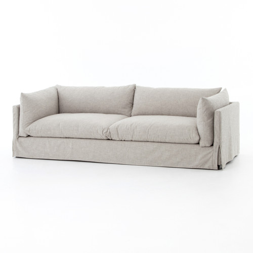 Loft Modern Beige Slipcovered Lounge Sofa 96""