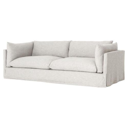 "Loft Modern Beige Slipcovered Lounge Sofa 90"""