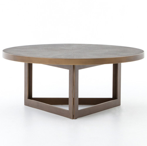 Hollywood Modern Shagreen Round Coffee Table - Antiqued Brass