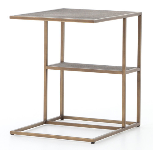 Hollywood Modern Shagreen C-Table - Antiqued Brass