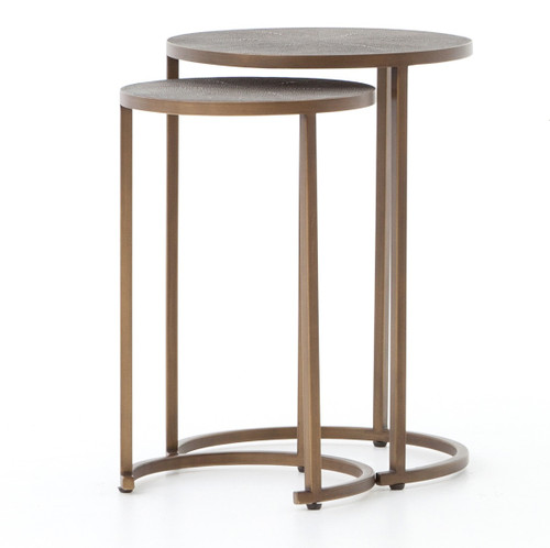 Hollywood Modern Shagreen Nesting Tables - Antiqued Brass