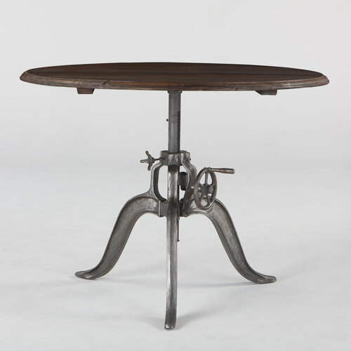 """Steampunk Industrial Wood Top Round Crank Table 46"""""""