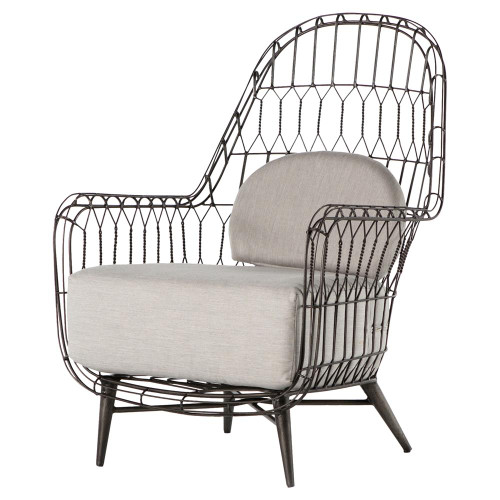 Manten Loft Iron Rattan Outdoor Wing Chair