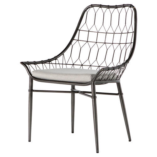 Arman Scooped Metal Rattan Outdoor Dining Chair