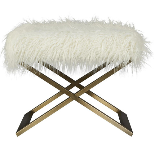 Modern Hollywood Regency Alpaca Fur Brass Leg Stool