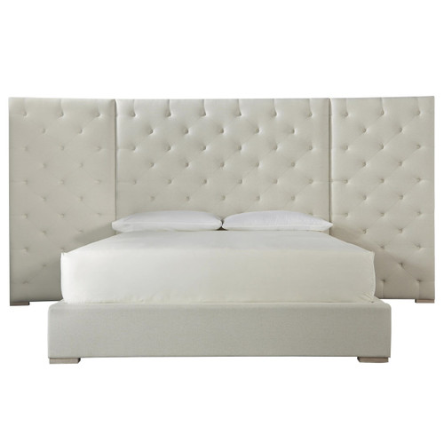Modern Box-Tufted Extended Headboard Fabric Platform Bed - Queen