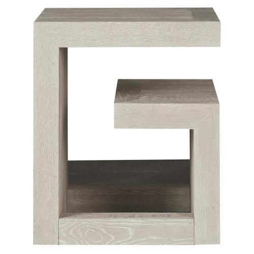 Modern Grey Oak Huston Geometric Bedside Table