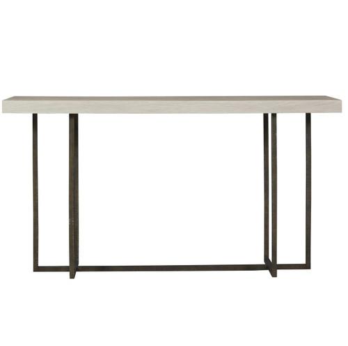 Modern Grey Oak Wood + Bronze Metal Wilder Console Table