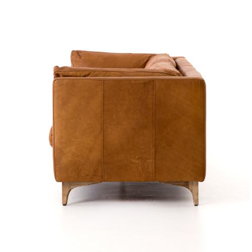 Beckwith Mid Century Modern Camel Leather Cushion Back Sofa 94
