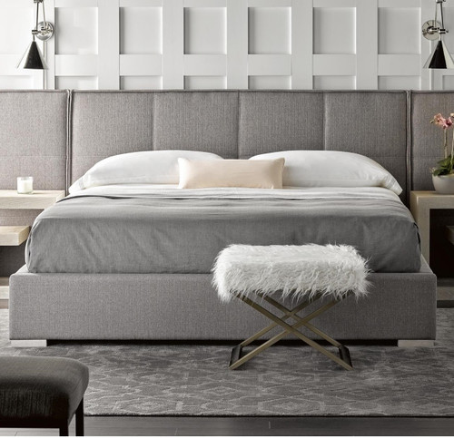 Connery Modern Gray Upholstered California King Platform Bed