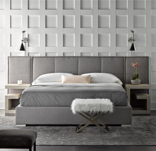 Connery Modern Gray Fabric Upholstered Extended Headboard Queen