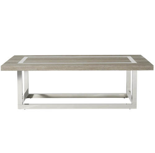 Wyatt Modern Oak Wood + Stainless Steel Cocktail Table