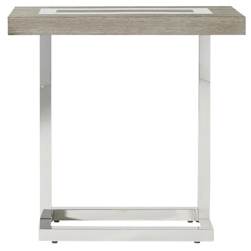 Wyatt Modern Oak Wood + Stainless Steel End Table
