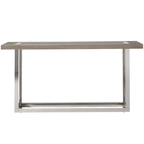 Wyatt Modern Oak Wood + Stainless Steel Console Table