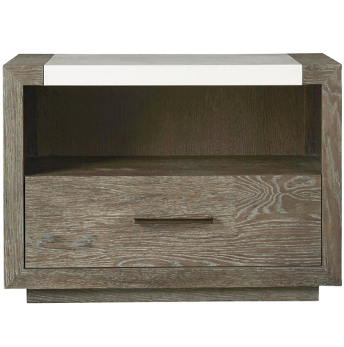Wilshire Modern Oak and Stone Top 1 Drawer Nightstand