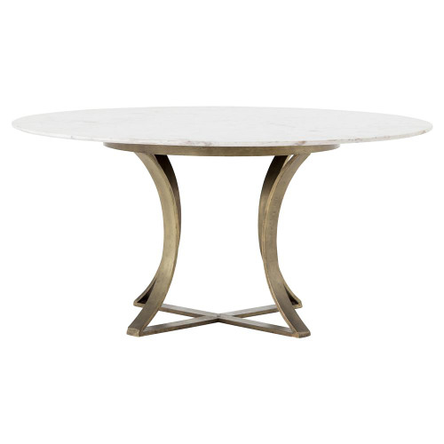 """Gage White Marble & Antique Brass Leg Round Dining Table 60"""""""