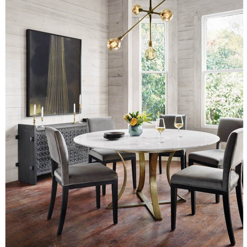 ... Gage White Marble U0026 Antique Brass Leg Round Dining Table ...