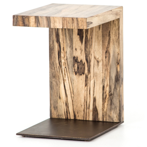 Hudson Spalted Wood and Iron C-Table
