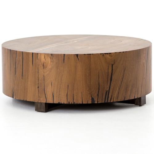 Hudson Round Natural Yukas Wood Block Coffee Table