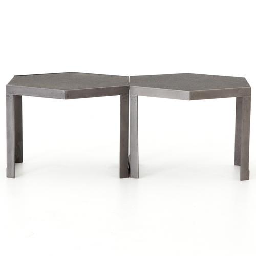 ... Clint Iron + Granite Top Hexagonal Bunching Coffee Table ...