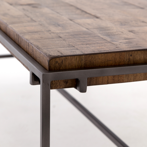 ... Barton Iron Leg Slab Wooden Top Coffee Table ...