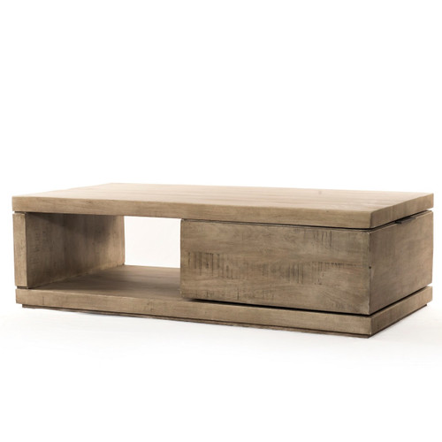 Dillon Rustic Weathered Grey Wood Storage Coffee Table 52""