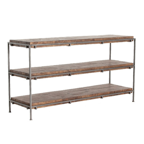 Barton Iron Frame + Slab Wood Shelf Media Console