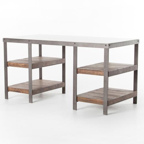 Elliot Industrial Iron + White Marble Top Office Desk