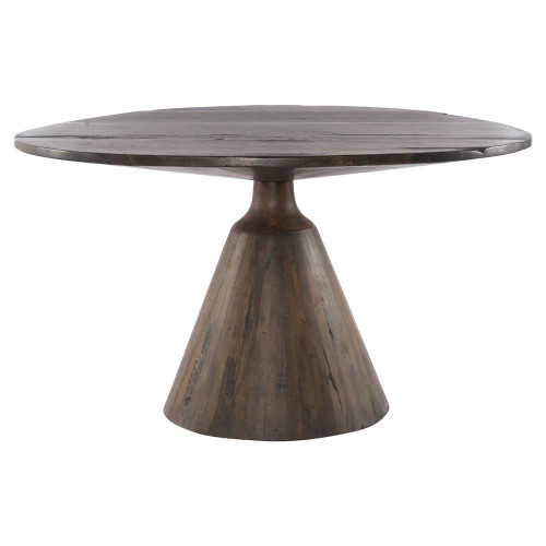 Bronx Salvaged Wood Round Pedestal Dining Table 54""