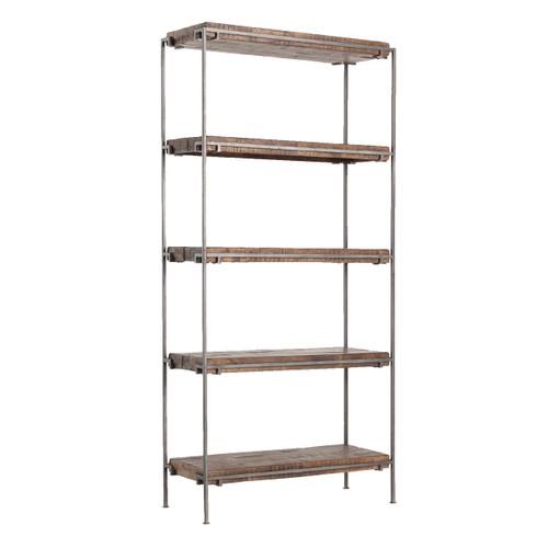 Modern Industrial Iron Frame + Slab Wood Bookshelf
