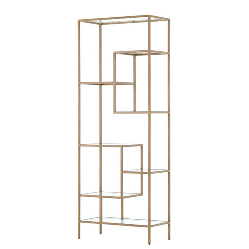 """Helena Staggered Antique Brass + Glass Shelf Bookcase 83"""""""