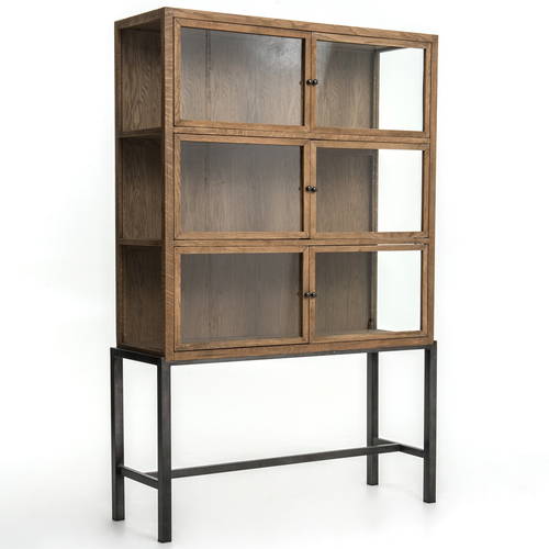 Spencer Oak Wood Curio Display Cabinet with Iron Base