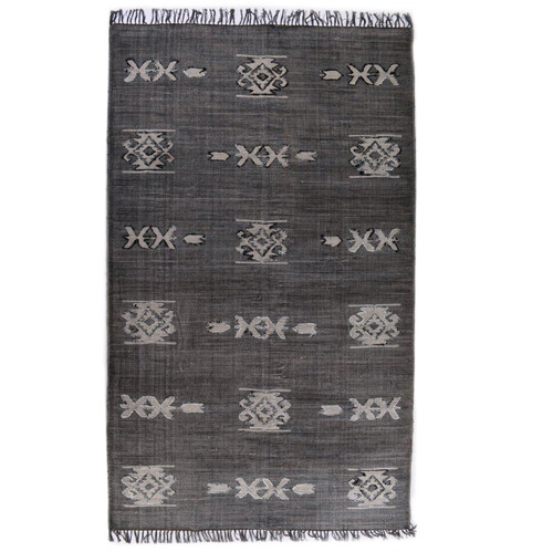 Faded Black Tribal Dhurrie Area Rug 9'X12'