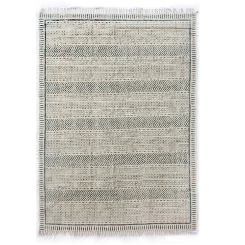 Geometric Stripe Flatweave Dhurrie Area Rug 8'X10'- Faded Black